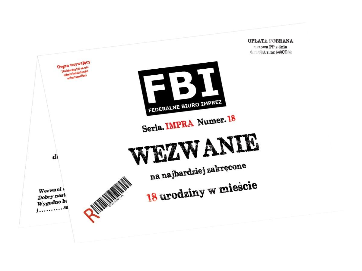 Zaproszenie Z Kopertą Na 18 Tke Wezwanie Fbi 1 Szt Kod Produktu