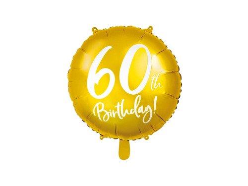 Balon foliowy złoty - 60th Birthday - 45 cm - 1 szt.