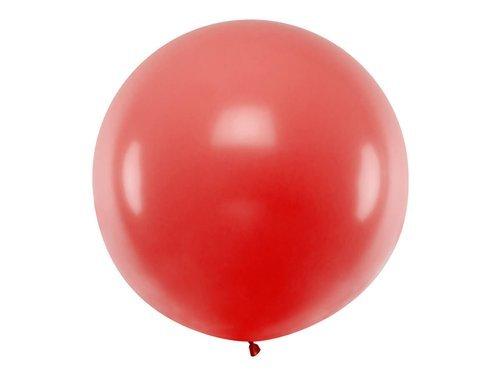 Balon olbrzym 1 m średnicy - czerwony pastel.