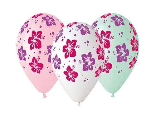 Balony lateksowe z kwiatami hibiskusa - 33 cm - 5 szt.
