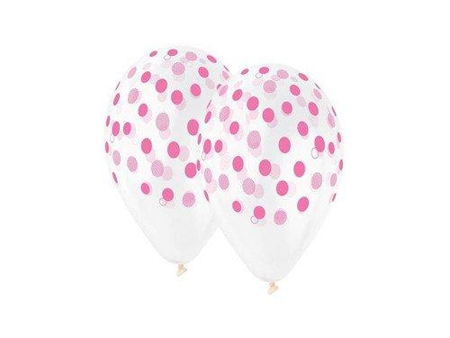 Balony przeźroczyste różowe Groszki - 30 cm - 5 szt.