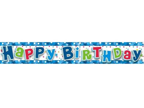 Baner Happy Birthday Niebieski - 180 cm -  1 szt.