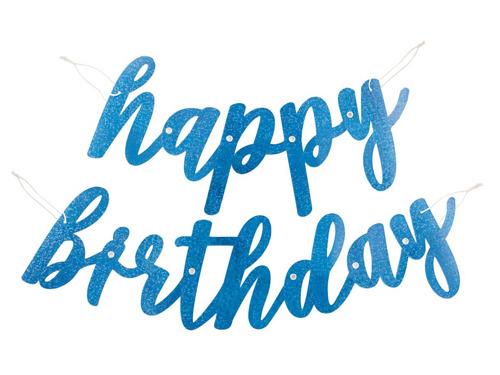 Baner Happy Birthday brokatowy niebieski - 84 cm - 1 szt.