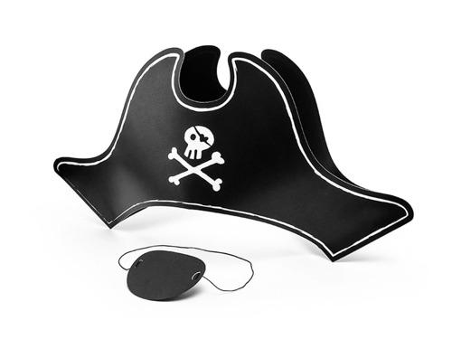 Czapka pirata z opaską na oko  - 1 szt.