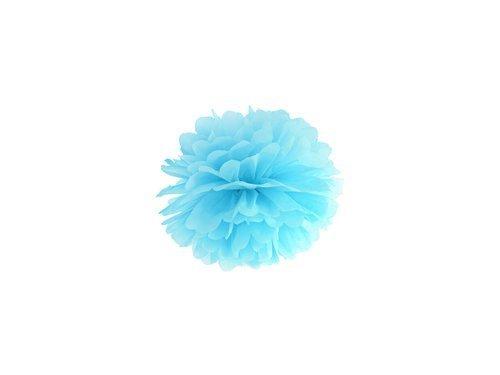 Dekoracja wisząca pompon kwiat - błękitna - 25 cm - 1 szt.