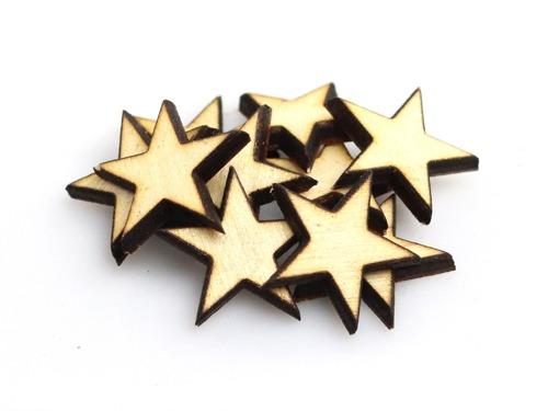Drewniane scrapki gwiazdy - 10 szt