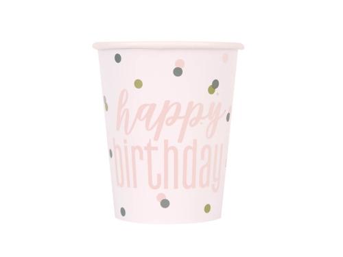 Kubeczki urodzinowe różowe złoto Happy Birthday - 270 ml - 8 szt.