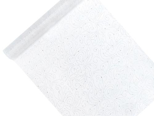 Organza biała z perłowym nadrukiem - 48 cm x 9 m.
