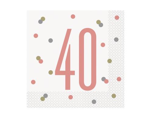 Serwetki różowe złoto na czterdzieste urodziny - 33 cm - 16 szt.