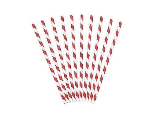 Słomki rurki biało-czerwone - 10 szt.