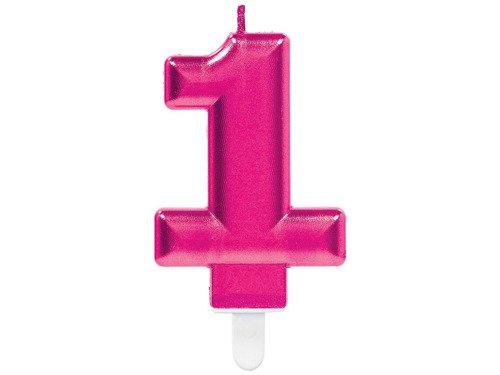 Świeczka cyferka jedynka 1 różowa - 1 szt.