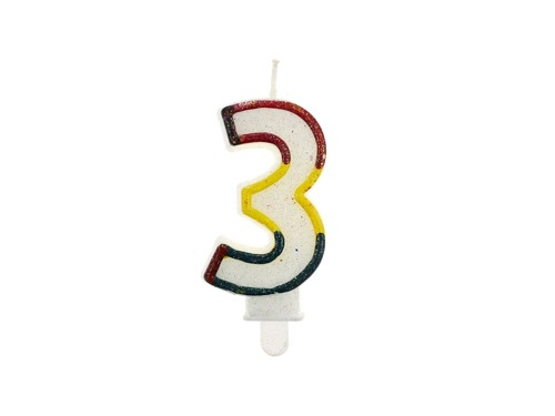 Świeczka cyferka z brokatem - 3 - trójka
