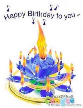 Świeczka urodzinowa grająca - tańcząca - niebieska - Happy Birthday