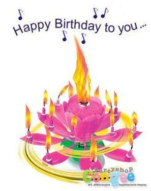 Świeczka urodzinowa grająca - tańcząca - różowa - Happy Birthday