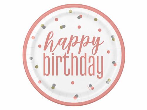 Talerzyki urodzinowe różowe złoto Happy Birthday - 23 cm - 8 szt.