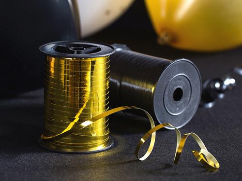 Wstążka ozdobna do balonów - metaliczna - złota - 225 m