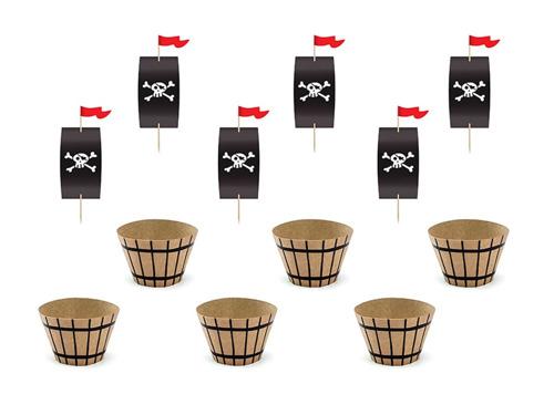 Zestaw na muffinki Piraci - 6 szt.