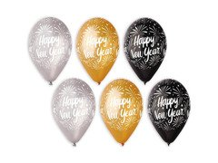 Balony Happy New Year - 31 cm - 6 szt.