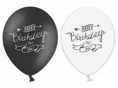 Balony z nadrukiem Happy Birthday - 37 cm - 5 szt.