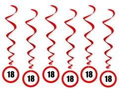 Dekoracja Wisząca Zakaz Na 18 Urodziny 6 Szt