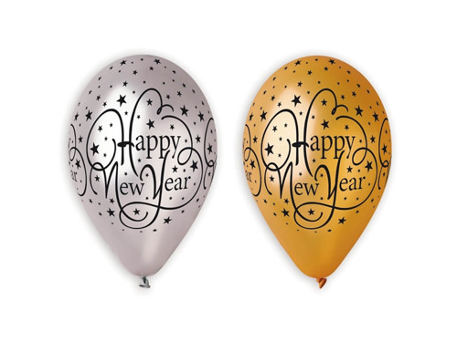 Balony Happy New Year z gwiazdkami - 31 cm - 6 szt.